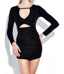 mini abito da donna scollo a v manica lunga sexy