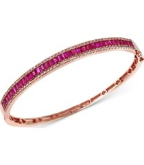 effy ruby (3-1/2 ct. t.w.) and diamond (1/2 ct. t.w.) bangle bracelet in 14k rose gold