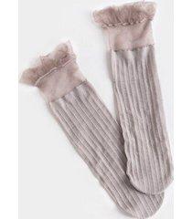 jolie mesh ruffle ankle socks - light blue