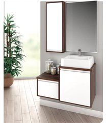 conjunto de gabinetes para banheiro com espelheira castaine - branco/marrom - dafiti