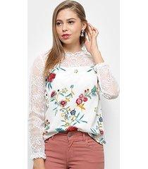 blusa heli floral tule bordado feminina