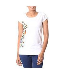 cotton blend madhubani t-shirt, 'tropical bloom' (india)