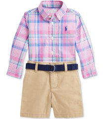 ralph lauren baby boys plaid shirt, belt & shorts set