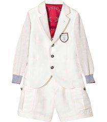 brunello cucinelli teen two-piece white single-breasted suit.