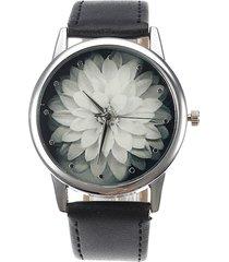 doona retro orologio con fiore di lotus in pelle