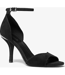 mk sandalo malinda in pelle scamosciata - nero (nero) - michael kors