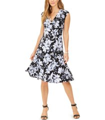 kasper julie floral-print fit & flare dress
