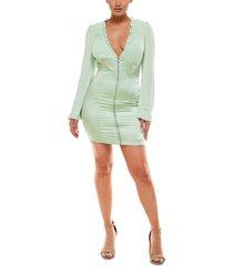 bebe front-zip bodycon dress