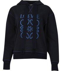 drawstring anagram hoodie navy blue