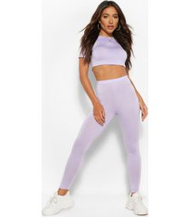 2 pack crop top and legging co-ord set, lilac