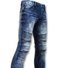 new stone biker skinny jeans manen blauw