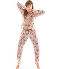 pijama thais gusmã£o longo com corda nã£o perturbe colorido - multicolorido - feminino - dafiti