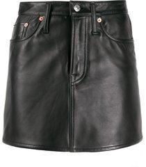 acne studios leather a-line mini skirt - black