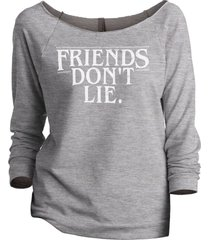 thread tank stranger things friends don't lie women's slouchy 3/4 sleeves raglan