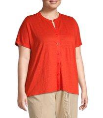 eileen fisher women's plus mandarin collar linen button-down shirt - geranium - size 2x (18-20)