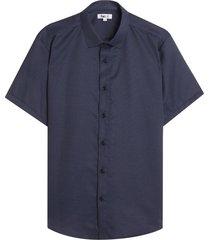 camisa con estampado mini puntos color azul, talla l