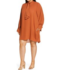 plus size women's city chic bow neck dress, size x-small - orange