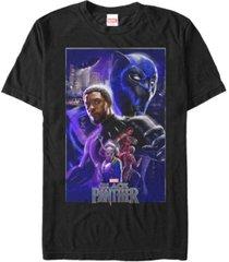 marvel men's black panther movie wakanda purple poster short sleeve t-shirt