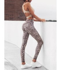 leggings de cintura alta de leopardo caqui