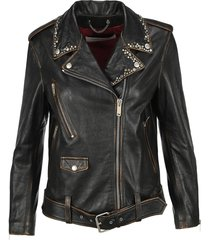 golden goose stud embellished leather jacket