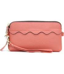 donna casual vera pelle long phone purse solid clutch borsa
