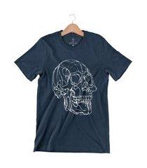 camiseta arimlap caveira labirinto azul marinho