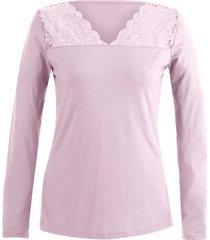 shirt met kant, roze 40