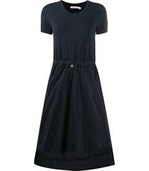 moncler flared gathered waist dress - blue
