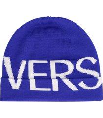 versace logoed wool hat