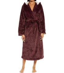 women's l.l.bean wicked hooded plush robe, size x-small - purple