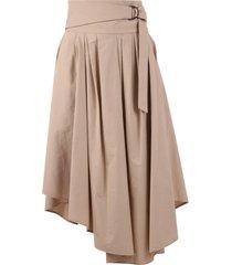 brunello cucinelli asymmetric cotton skirt