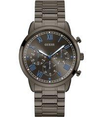 guess men's gunmetal-tone stainless steel multi-function watch. 44mm