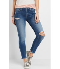 flying monkey™ womens medium wash destructed stretch skinny jeans blue - maurices