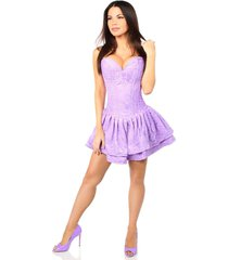 lilac lace steel boned ruffle corset dress