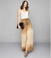 reiss emmeline - metallic maxi skirt in gold, womens, size 10