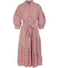 diane von furstenberg luna cotton-jacquard midi shirt dress in printed geo orange