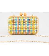 women's clara plaid clutch in multi by francesca's - size: one size