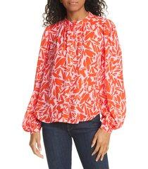 women's veronica beard ashlynn graphic silk blend blouse, size 14 - red