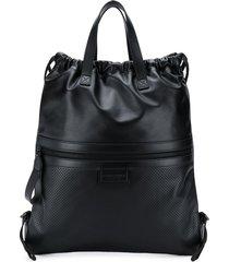 bottega veneta flat tote backpack - black