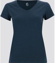 t-shirt i bomull med v-ringning - blå