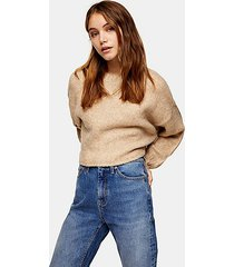 camel super cropped brushed knitted sweater - camel