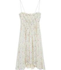 floral silk gathered dress