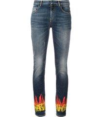 faith connexion flame print skinny jeans - blue