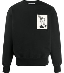 ami face woven label sweatshirt - black