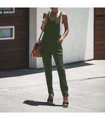 zanzea mujeres plus sin mangas con cuello en v sin formato mono playsuits trajes pantalones -ejercito verde