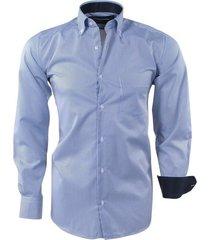 ambassador ongetailleerd heren overhemd gestreept borstzak - blauw