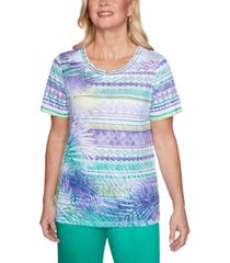 alfred dunner costa rica leaf biadere printed top