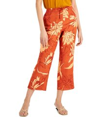 alfani floral-print cropped drawstring pants, created for macy's