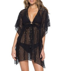 women's becca poetic cover-up tunic, size x-small/small - black