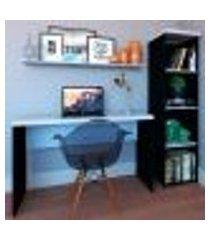 conjunto de mesa com estante e prateleira de escritório corp preto e cinza cristal